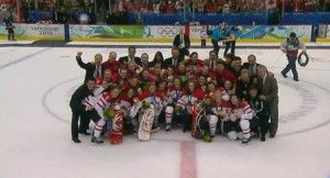 Canadian women's hockey team strikes gold! Make that a hat-trick!