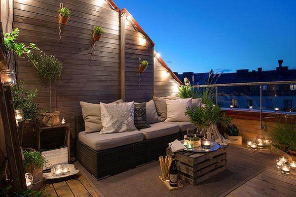 Decoration Scandinave Terrasse Nuit Appartement Suede