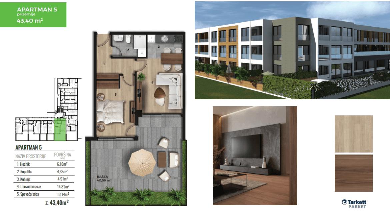 Lux jednosoban stan za prodaju u Tološima 43m2   Podgorica