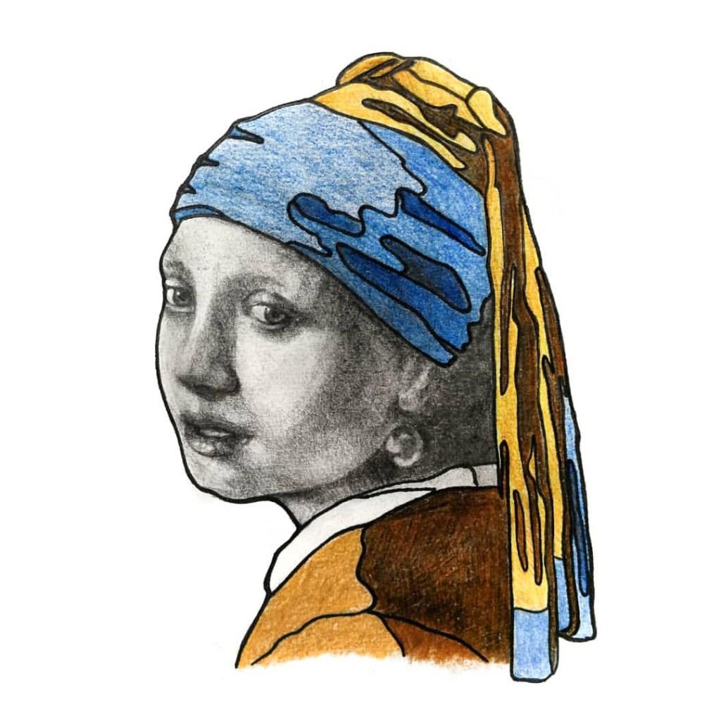 """""""La ragazza con l'orecchino di perla-studio"""" by Piskv_Pastels on Paper_21x16cm_2019"""