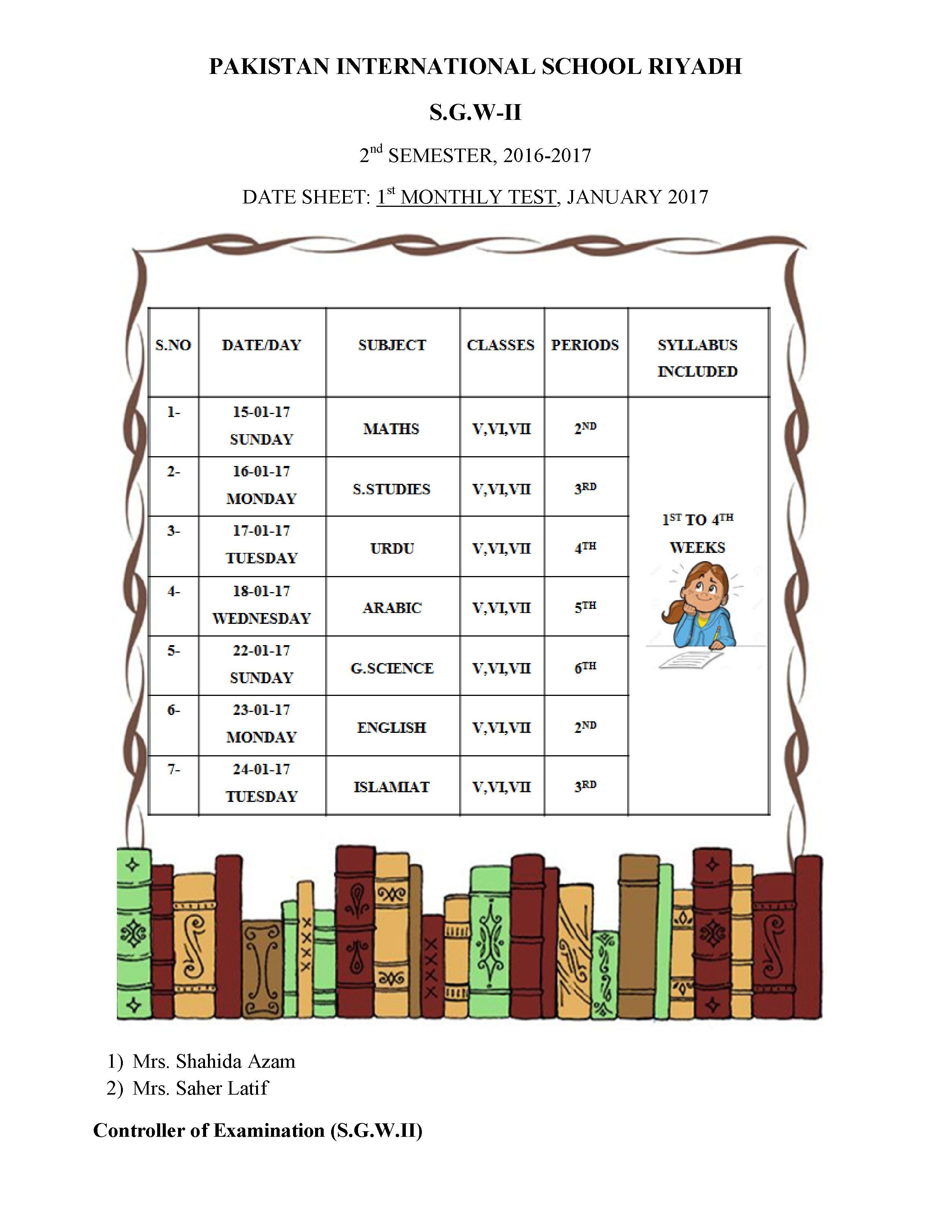 Assessment Schedule January