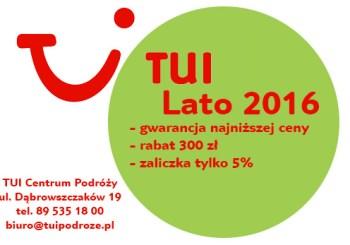 Start sprzedaży oferty LATO 2016 w biurze podróży TUI!