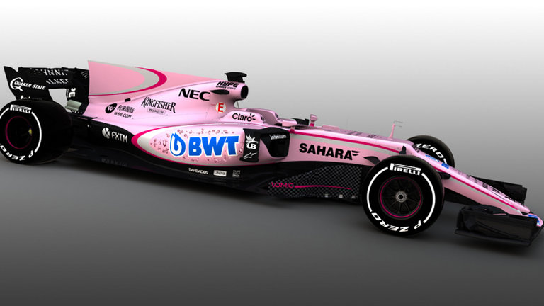 Pre-mixed red and white livery Force India oversight cock-up