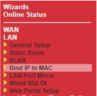 Fixed IP on router