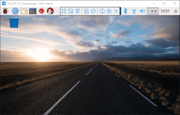 Raspberry Pi desktop in the VNC viewer