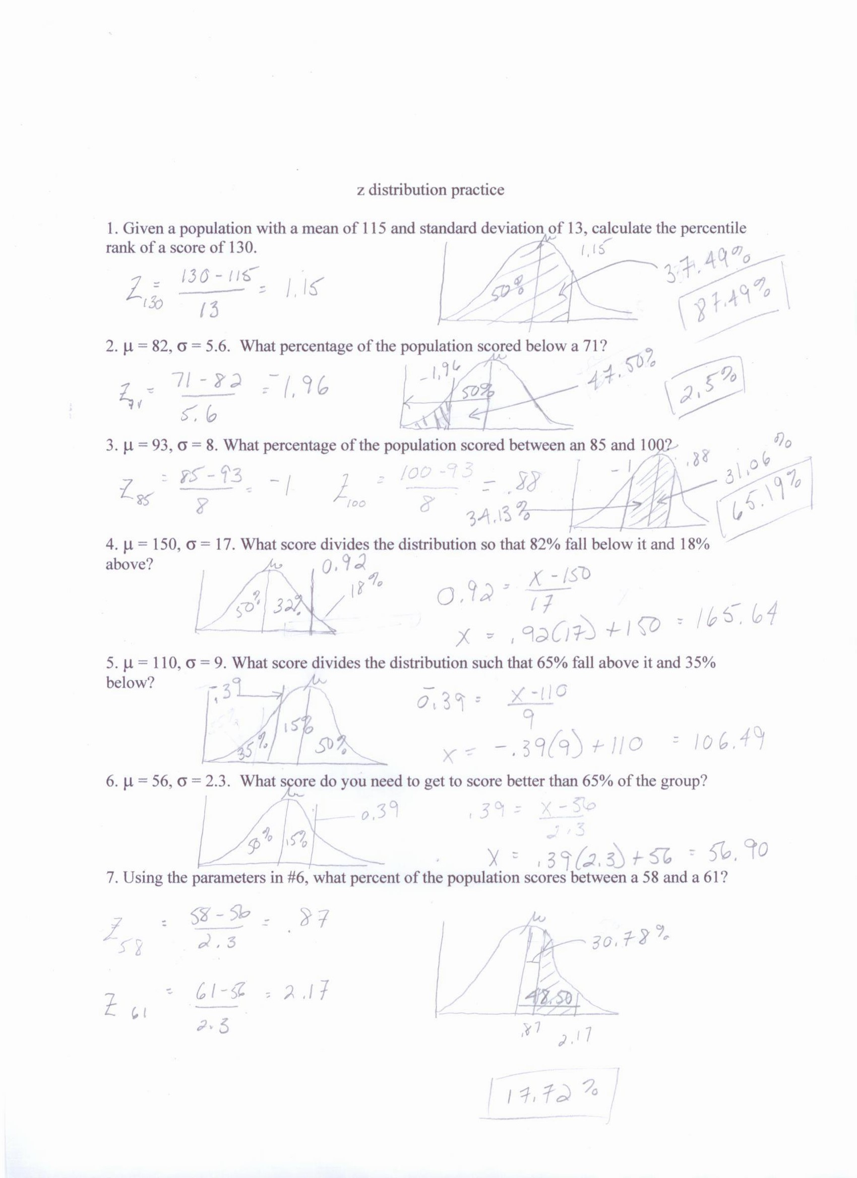 Z Score Worksheet With Answers