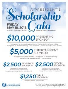 List of President's Scholarship Gala sponsorship opportunities.