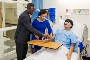 a dummy in a hospital simulation lab