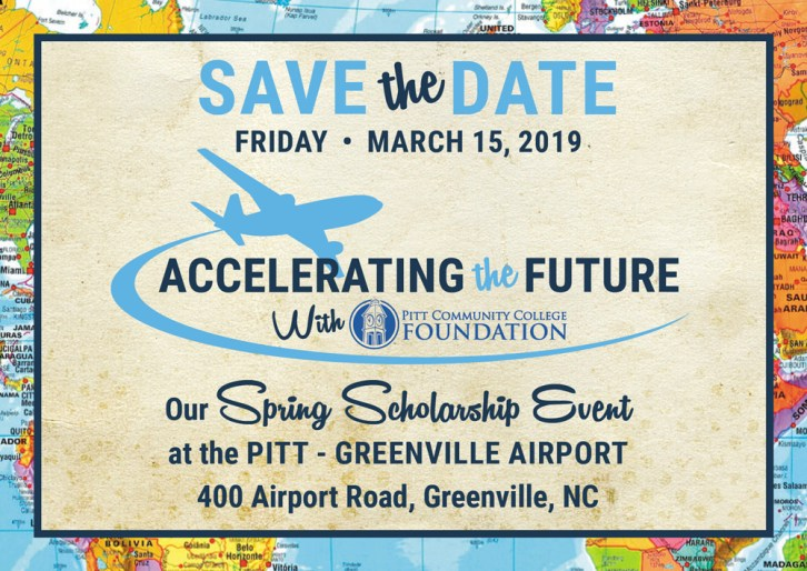 Save-the-Date postcard for March 15 PCC Foundation fundraiser at PGV Airport.