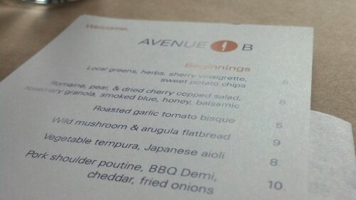 Avenue B Lunch Menu