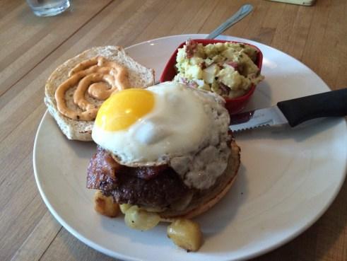 Fried Egg, Bacon, Potatoes, Hot Sauce Mayo Burger from Benjamins Burger Bar