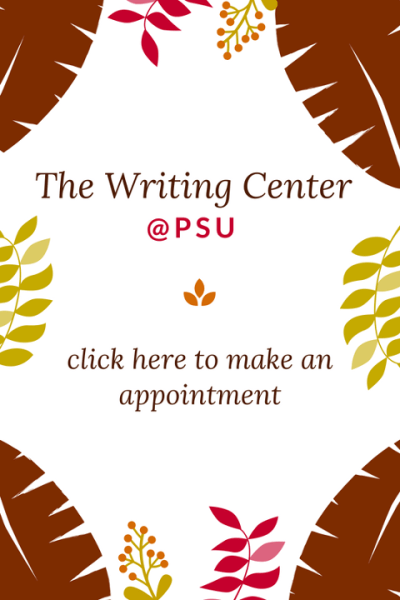 The Writing Center advertizing sign