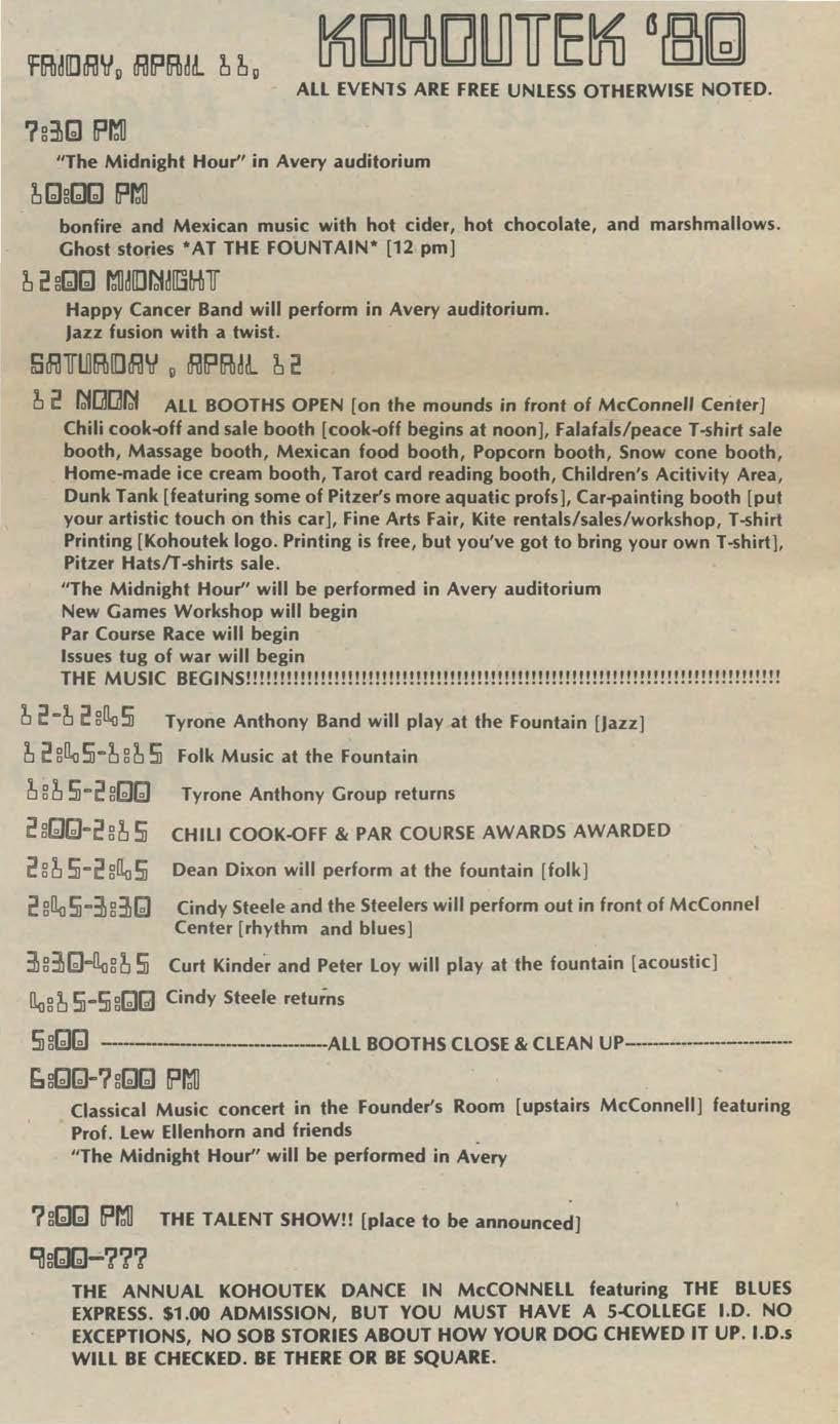 Kohoutek 1980 Music Lineup