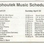 1984 Kohoutek Music Schedule