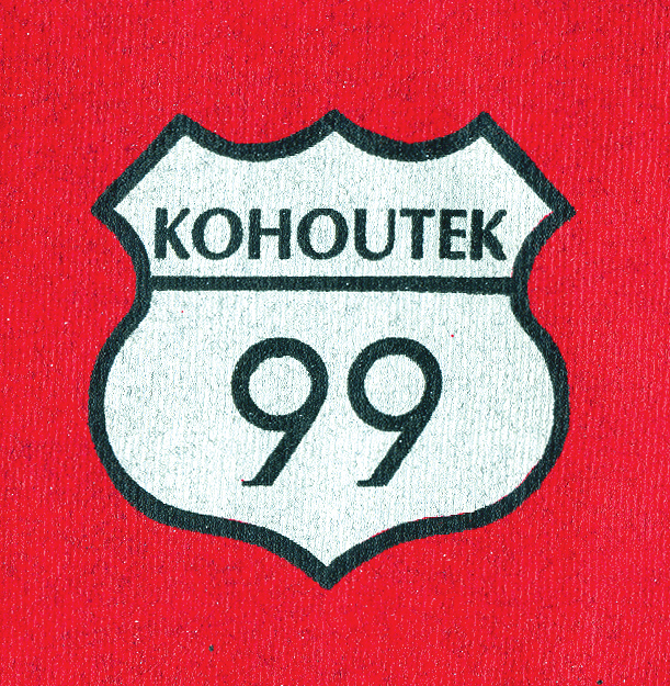 1999 T-shirt designed by Professor of Art Michael Woodcock, a playful rift on Route 66.