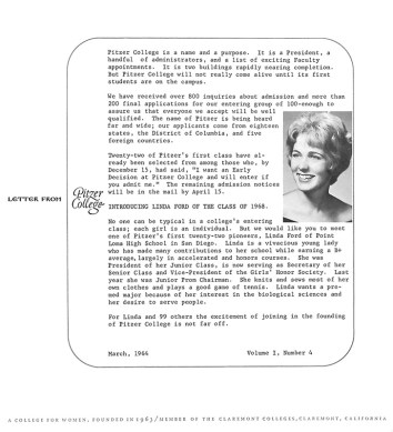 Letter from Pitzer College, Vol. 1, No. 4. March 1964