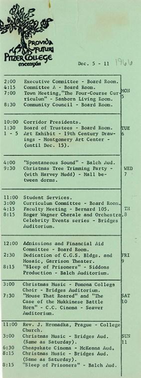 Pitzer College Events Calendar, December 5-11, 1966
