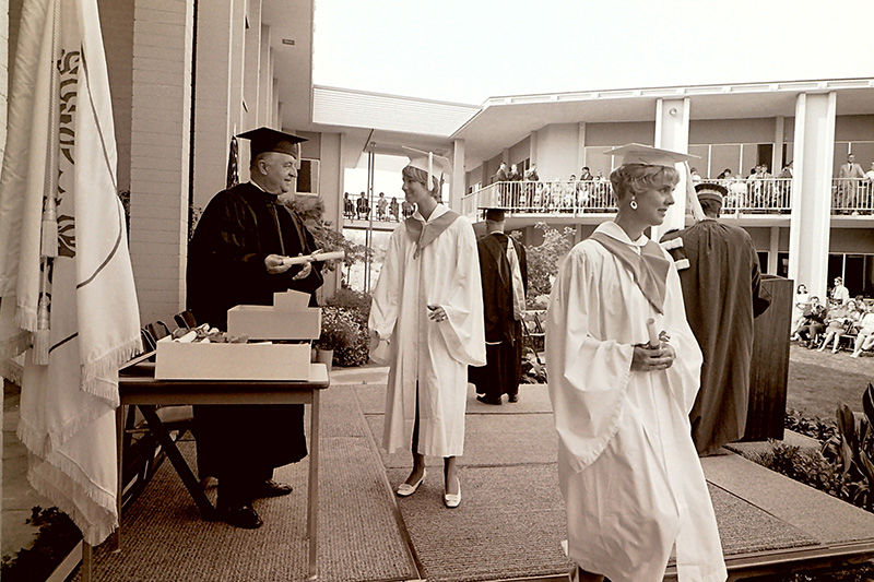 Trustee Odell McConnell Handing Out Diplomas, 1968