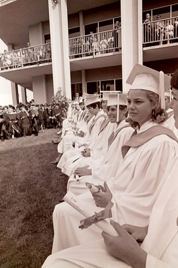 Front Row Seated Graduates with Diplomas, 1968