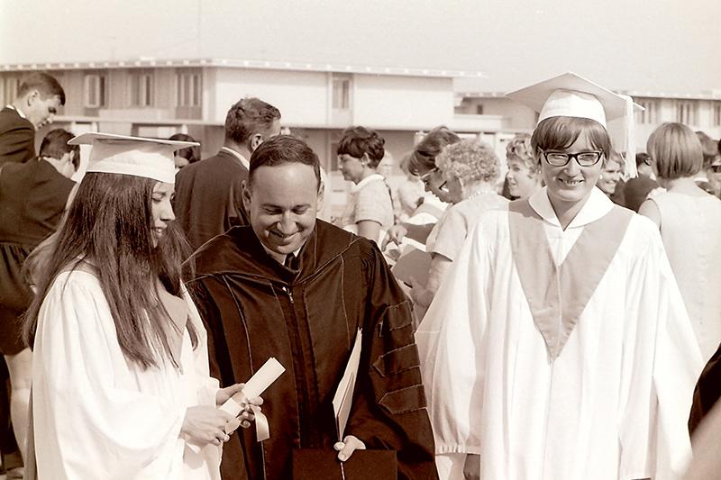 Classics Professor Stephen Glass with Graduates, 1968