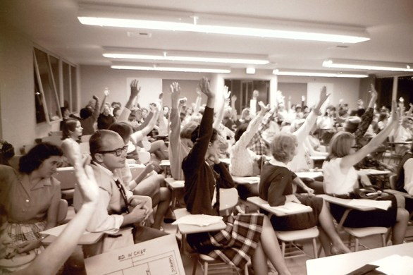 Students and Faculty Voting at Town Meeting, 1964