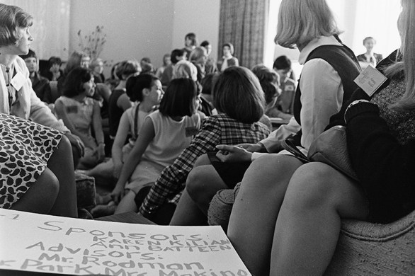 Students Gathered in Sanborn Hall Living Room, 1965