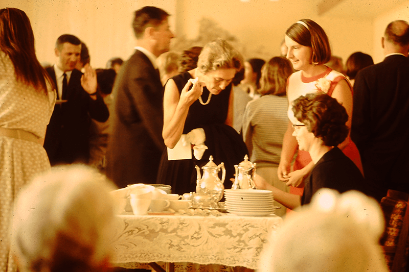 Faculty and Students at Tea, 1964 or 1965