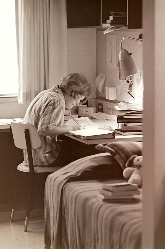 Student at Desk in Sanborn Hall, 1964