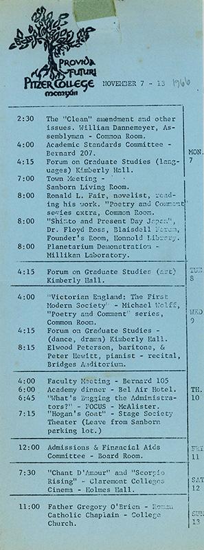 Pitzer College Events Calendar, November 7-13, 1966