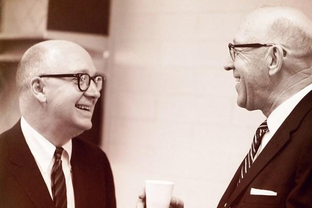 President John Atherton Talks with Robert J. Bernard, 1966