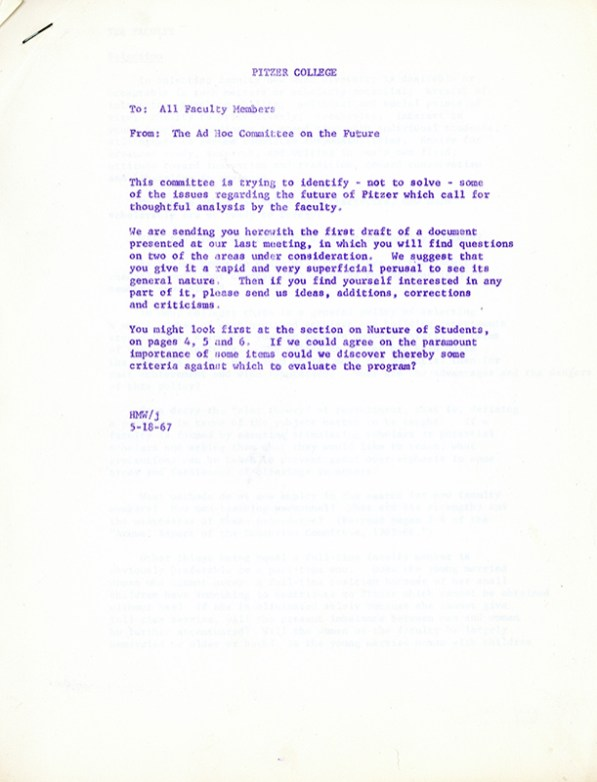 Memo from Ad Hoc Committee on The Future, 1967