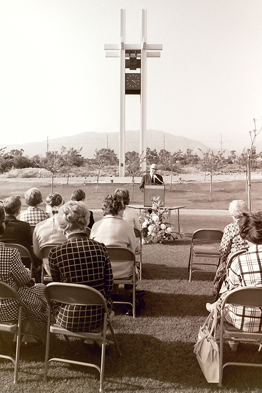 President Atherton at the Dedication of Brant Clock Tower, 1970