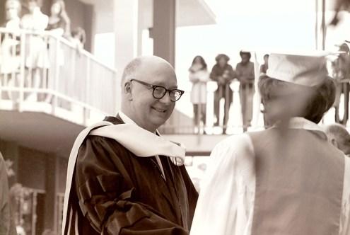 President Atherton Congratulates a Graduate on Commencement, 1970