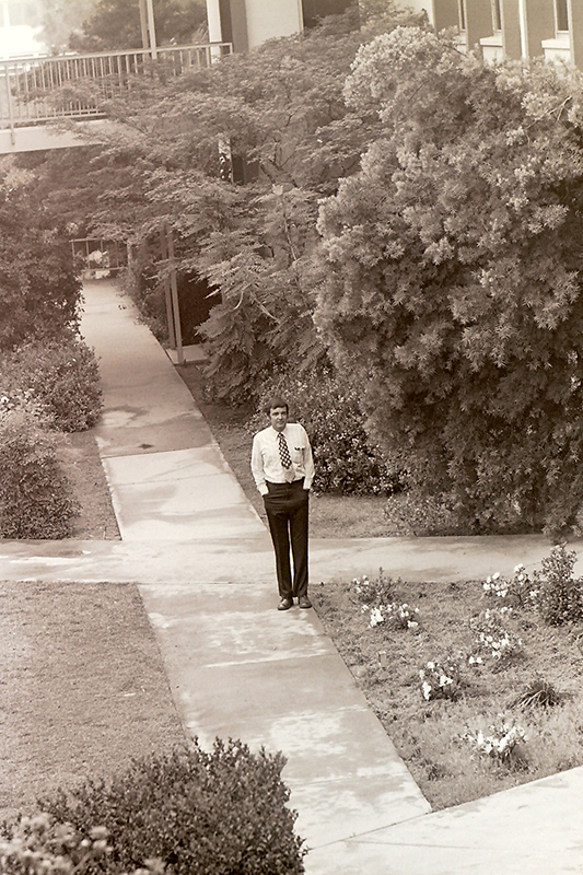 President Atwell in the Scott Hall Courtyard, 1978