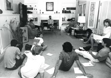 President Ellsworth and Students at the President's House, 1984
