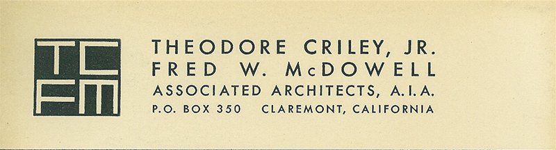 Criley & McDowell Logo Taken from Blueline Print, undated