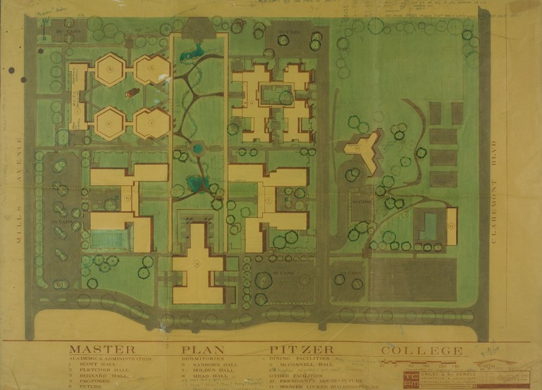 Color Rendering of Pitzer College Master Plan, undated