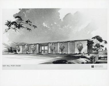 Rendered Perspective Drawing of Scott Hall (Front Façade), undated