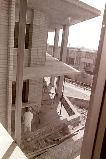 Construction of Fletcher Hall with Sanborn Hall in the Background, September 8, 1965