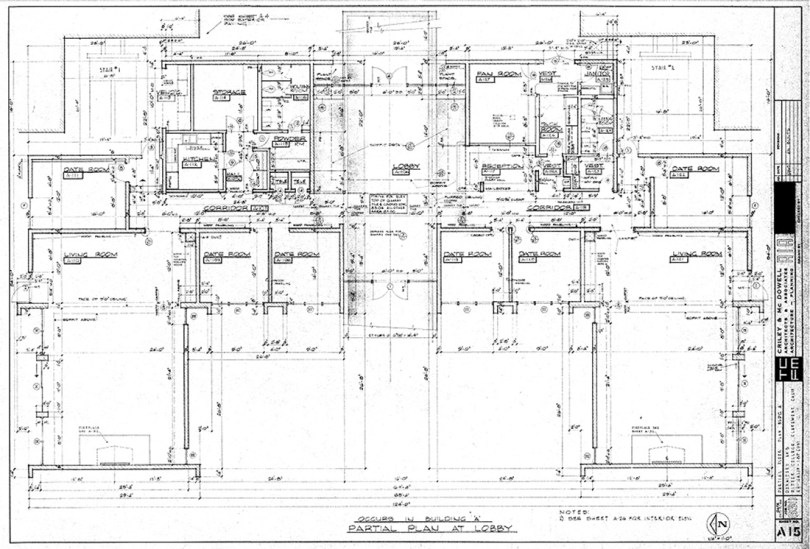 Partial Floor Plan of Mead Hall, Sheet A-15, October 5, 1966