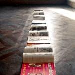 Tarrah Krajnak, Untitled (2014), Floor Installation (23 Vintage Crime and Pornographic Magazines from Lima, Peru, 1979).