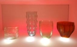 bicchieri luce arancione, la teca dei vetri, museo archeologico nazionale, Adria