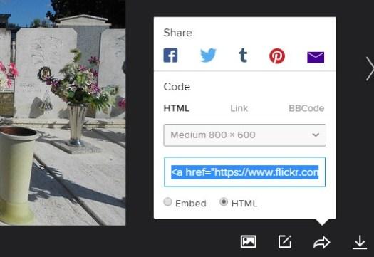 Flickr embed e html