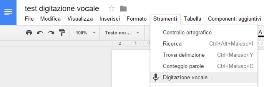Test digitazione vocale Google Docs (Idrive)