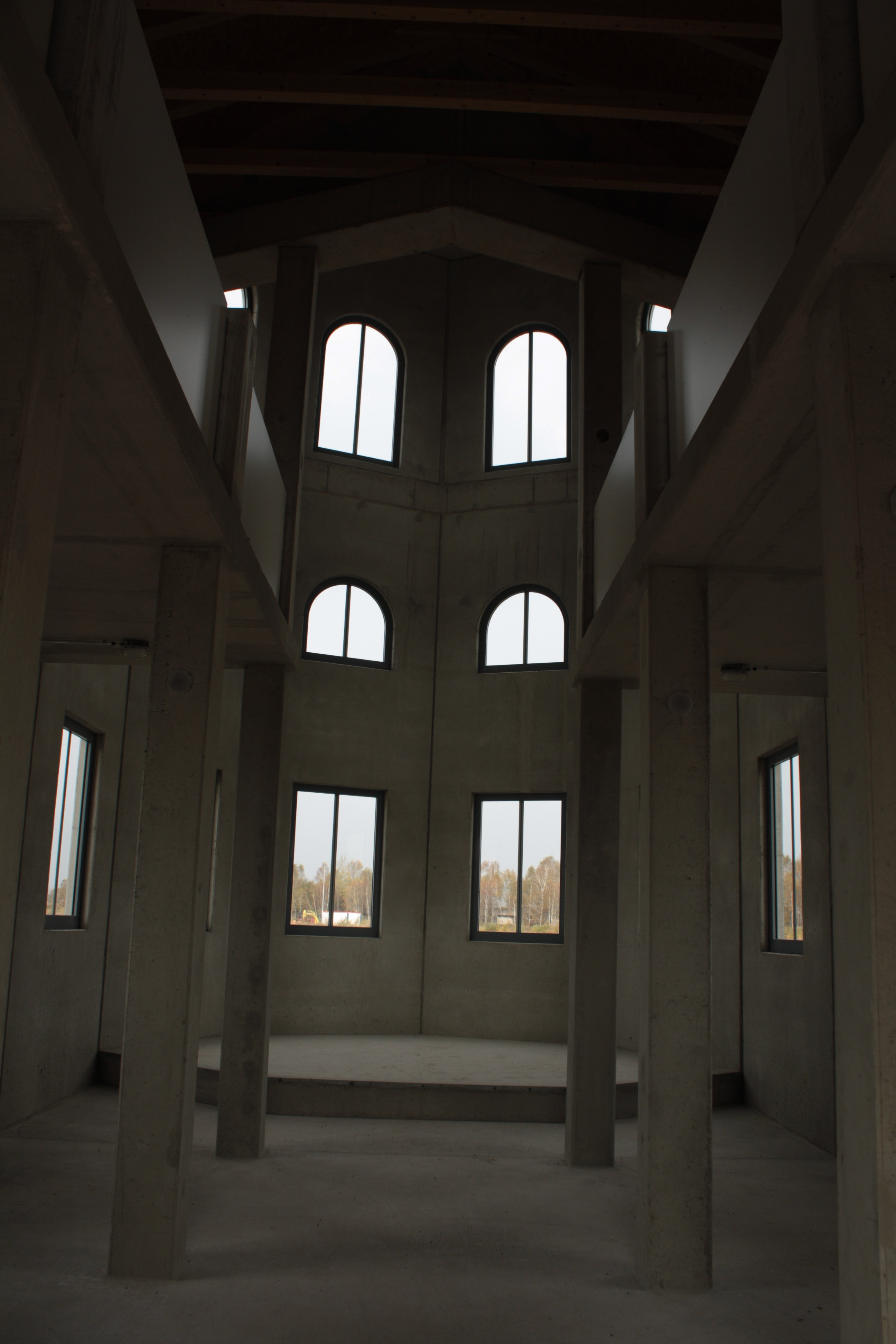 """Inside the """"sacral building"""" - very similiar to a classic Christian nave."""