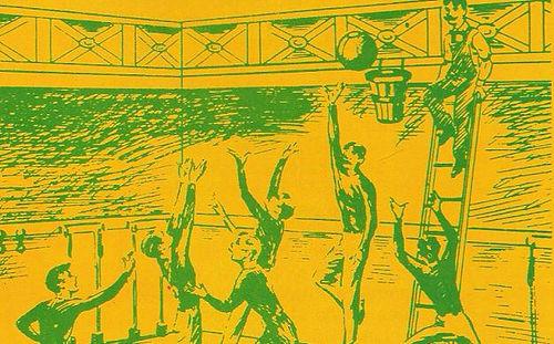 Fuente: www.ebablogs.com Primer partido de baloncesto de la historia, no se podía botar, no había crono de posesión...