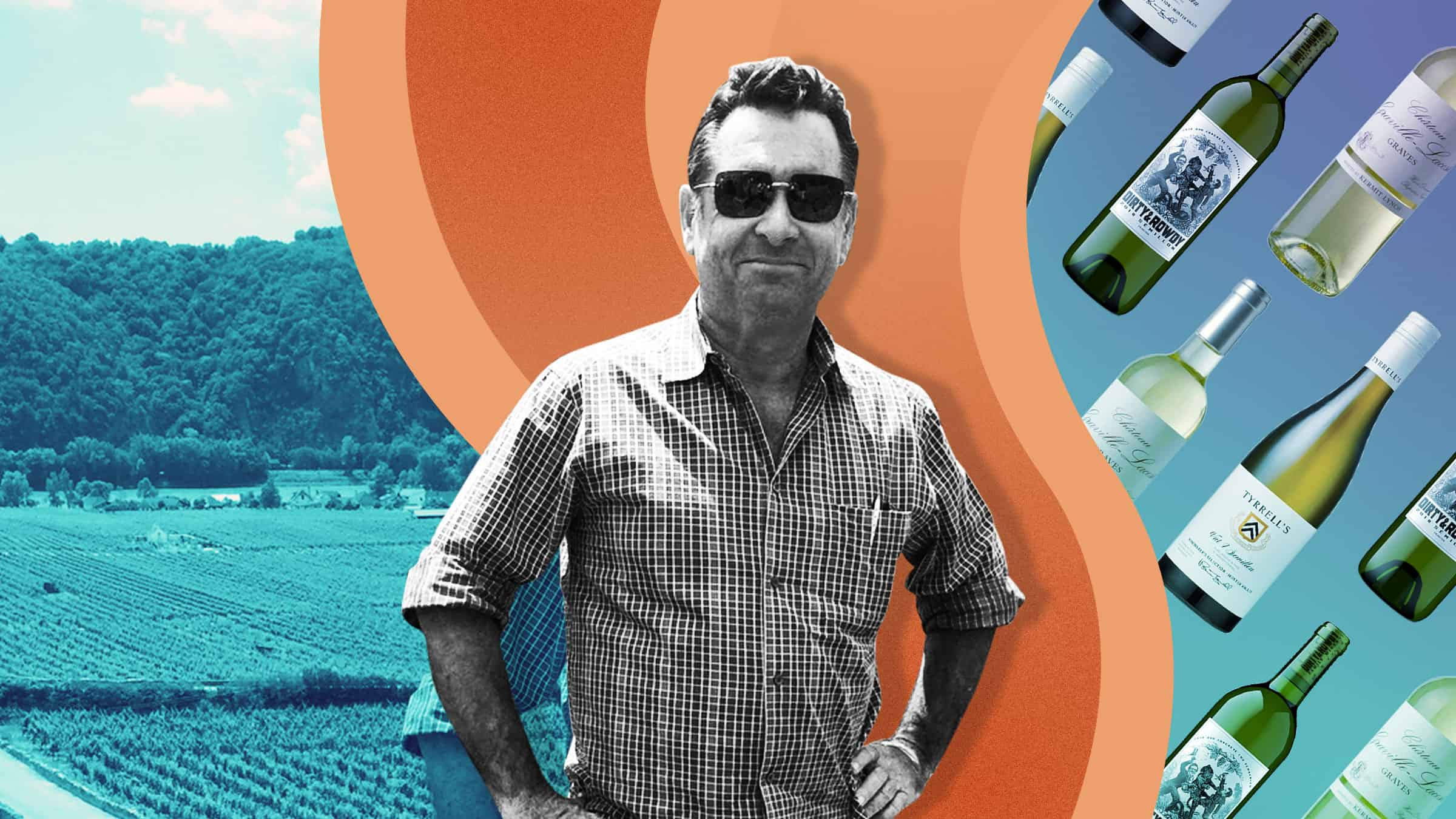 A photo illustration of wine retailer Dan Fredman, showing a vineyard and wine bottles in the background.