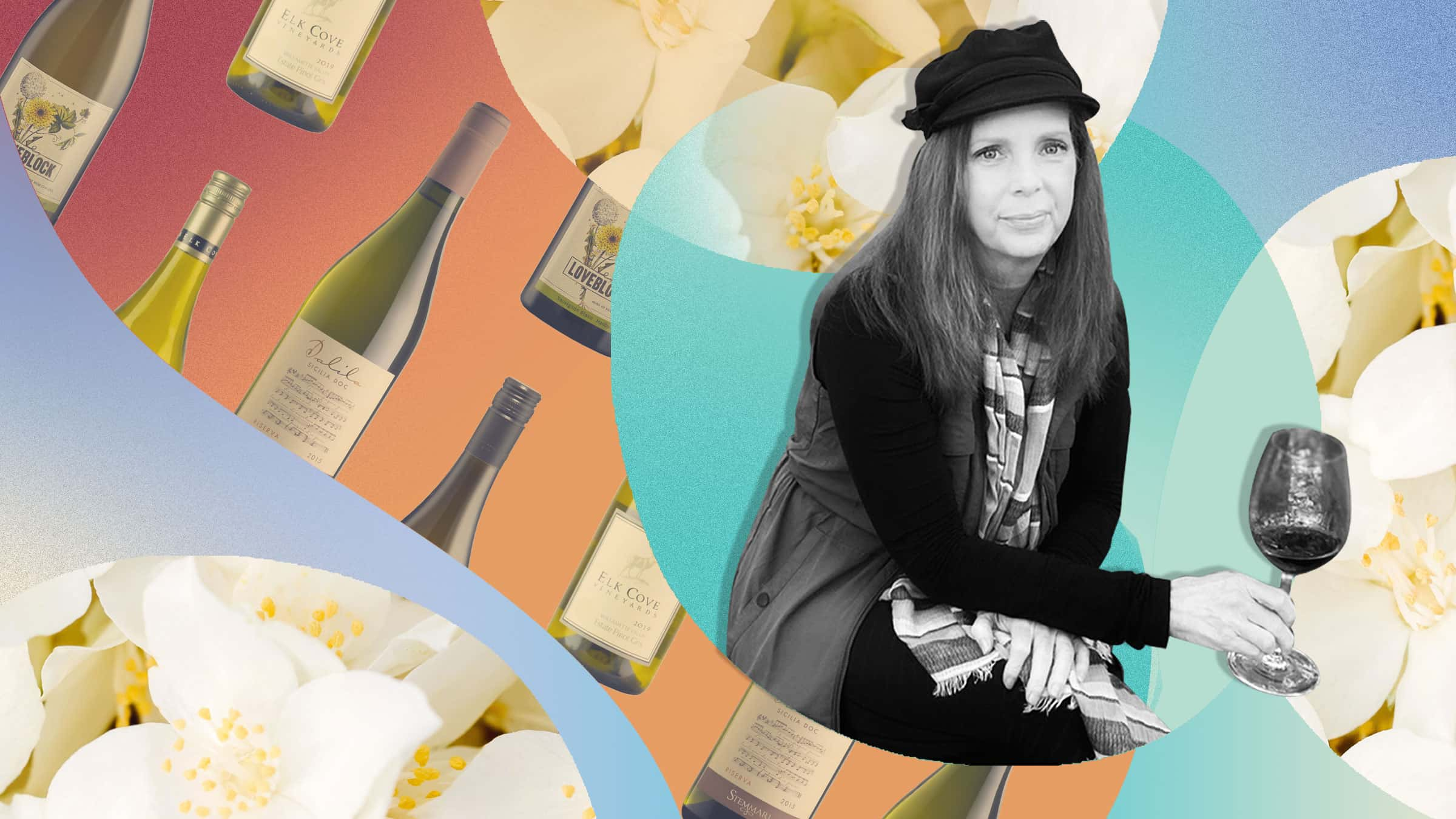 Photo illustration of wine communicator Penny Sadler with images of white flowers and wine bottles in the background.