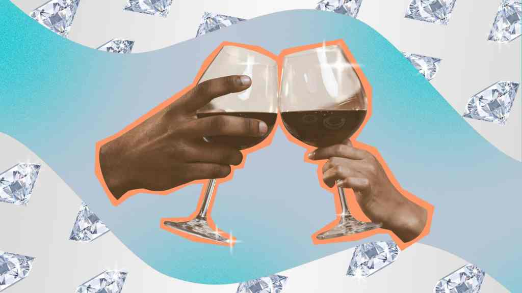 A photo illustration by Allison Kahler of two wine glasses clinking on a background of diamonds and blue gradient swirl.