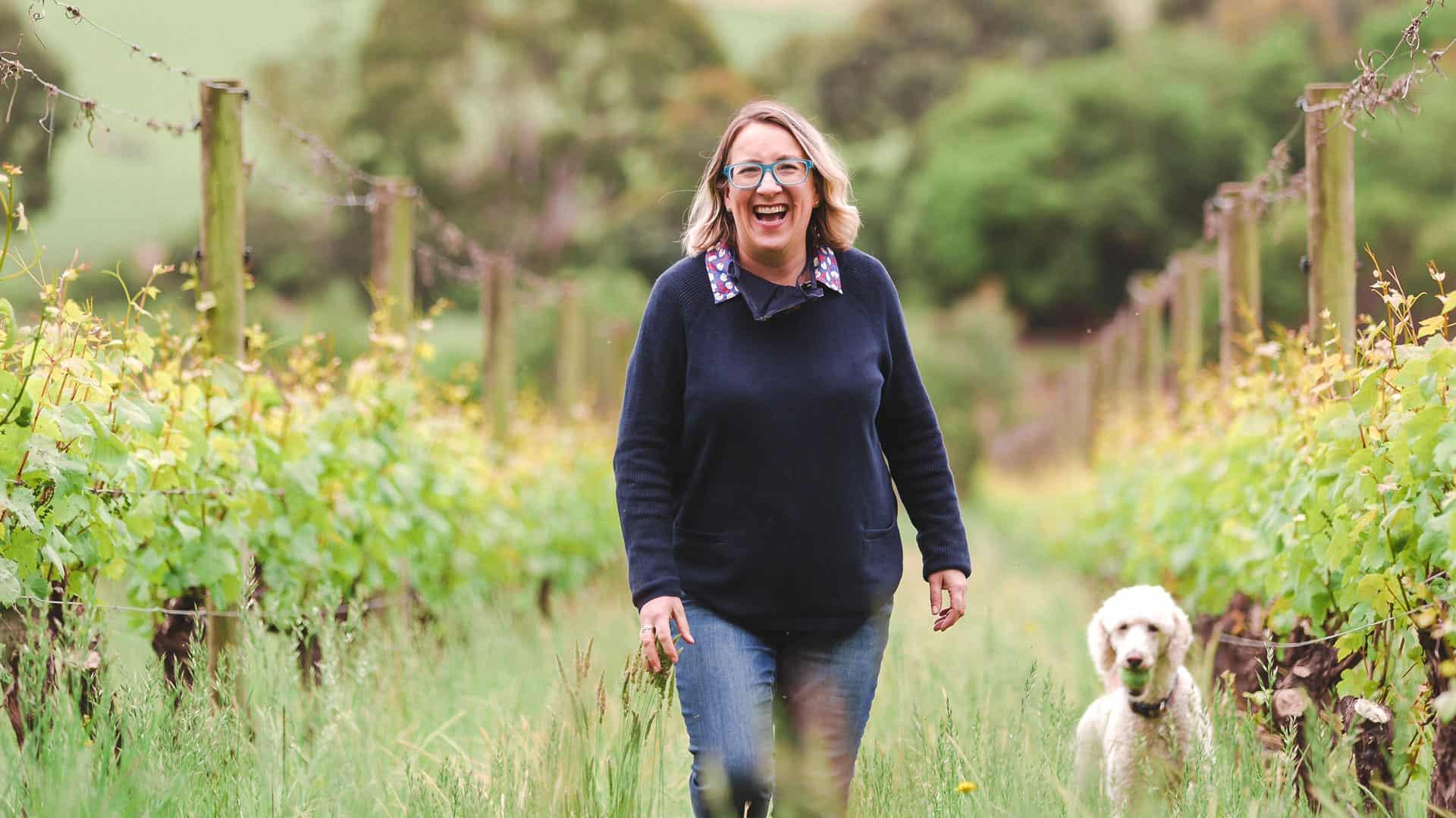 Kate McIntyre in the vineyard
